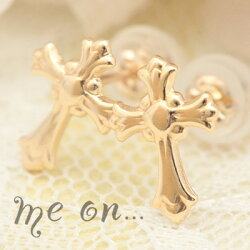 【meon...】K10イエローゴールド・奥行きのある彫が職人技。女性らしい丸みが嬉しいホーリークロス。ドラキュラ対策万全?十字架ピアス