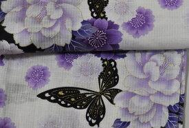 sy603**【2〜3L *4L】2サイズからのご選択*ゆっくり大きなサイズ*白地に金彩入りの艶やかな牡丹桜と蝶*