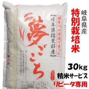 【生活応援セール】(リピータ専用)令和1年【特別栽培米】岐阜県産夢ごこち 玄米30Kg(10Kg×3)精米サービス