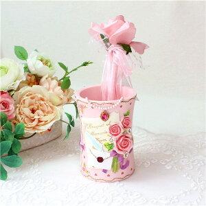 ペンスタンド ペン立て マルチ 花柄 おしゃれ かわいい ローズ 薔薇雑貨 簡単リフォーム 姫系 花柄 ボタニカル バラ 雑貨 花柄 かわいい 母の日ギフト