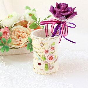 ペンスタンド ペン立て マルチ 花柄 おしゃれ かわいい ローズ 薔薇雑貨 簡単リフォーム姫系 花柄 ボタニカル バラ 雑貨 花柄 かわいい 母の日ギフト
