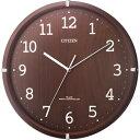 【アウトレット】シチズン 電波時計 8MYA22-006 シンプルモードアーク 茶色半艶/CITIZEN リズム時計 電波 掛け時計 壁掛け おしゃれ