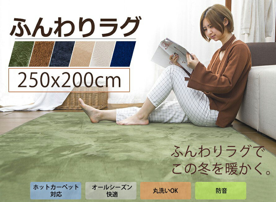 ラグ 洗える 200X250 ラグマット ふわふわ カーペット 3畳 滑り止め おしゃれ リビングマット マイクロファイバー 無地 ウォッシャブル  じゅうたん 寝室 フロリング スマホ 送料無料