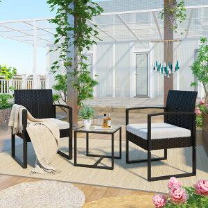 ラタン調 ガーデンファニチャー 3点 ガーデンテーブル ガーデンチェアー ラタン調 テーブル 家具 樹脂 ホテル カフェ ベランダ テラス 屋外家具 高級 ソファ ガーデンソファー ガーデニング