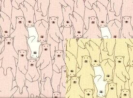 【綿100%キャンバス:KTS-3515】白クマいっぱい♪ (コットンこばやし) 全2色【メール便可】しろくま/布/白くま/ベア/アニマル/ハンドメイド/生地/手芸