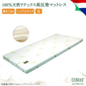 マットレス 高反発 COMAX 天然ラテックス シングル  厚さ7.5cm 7.5×S100