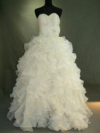 【全国送料無料】ビスチェ ロング プリンセスライン ラッフル オーガンジー ウェディング ドレス ビーズ 飾り