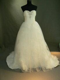 【全国送料無料】ビスチェ ロング プリンセスライン ドレープ 花 模様 トレーン オーガンジー ウェディング ドレス ビーズ 飾り
