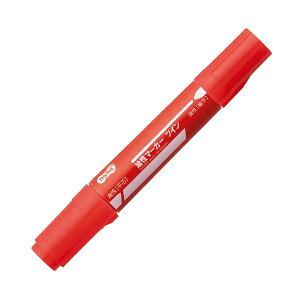 (まとめ) TANOSEE キャップ式油性マーカー ツイン 太字+細字 赤 1セット(50本) 【×4セット】