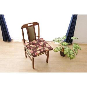 クッション 椅子用 シート エレガンス 花柄 『テセラ』 ブラウン 約43×43cm 2枚組 茶