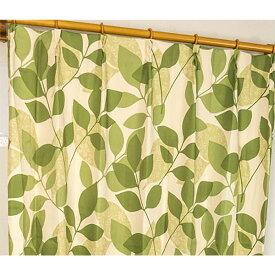 遮光カーテン サンシェード 2枚組 / 100cm×135cm グリーン / リーフ柄 洗える ウォッシャブル 形状記憶 『レックス』 九装 緑