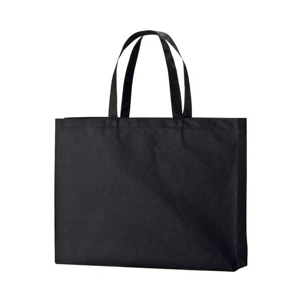 (まとめ) TANOSEE 不織布バッグ 大 ヨコ530×タテ400×マチ幅120mm ブラック 1パック(10枚) 【×2セット】