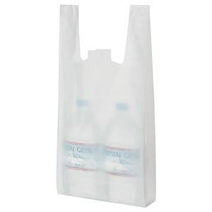 (まとめ) TANOSEE 乳白レジ袋 25号 ヨコ215×タテ480×マチ幅125mm 1パック(100枚) 【×20セット】