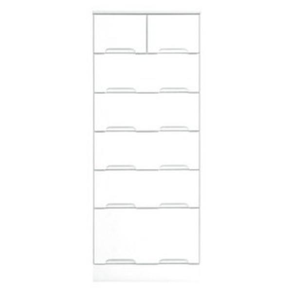 ハイチェスト 6段 【幅50cm】 スライドレール付き引き出し 日本製 ホワイト(白) 【完成品】【代引不可】