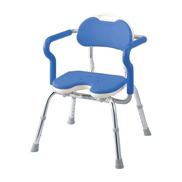 【送料無料】アロン化成 シャワーチェア ひじ掛け付シャワーベンチREワイド Uブルー 536-250( チェア イス 椅子 ブルー 青 )
