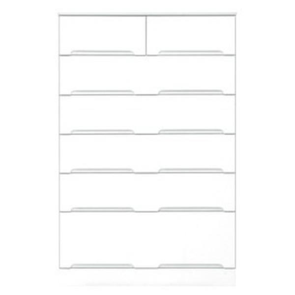 ハイチェスト 6段 【幅80cm】 スライドレール付き引き出し 日本製 ホワイト(白) 【完成品】【代引不可】
