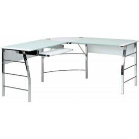 強化ガラスPC デスク (テーブル 机) (パソコン デスク ) L型 キーボード天板付き CT-1040WH ホワイト(白)【組立品】 白