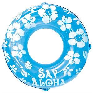 浮き輪 【120cm】 ブルー ハイビスカス柄 塩化ビニール樹脂製 〔プール ビーチ 海外旅行〕 青