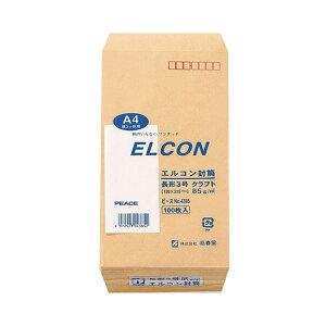 (まとめ) ピース R40再生紙クラフト封筒 テープのり付 長3 85g/m2 〒枠あり 4385 1パック(100枚) 【×5セット】