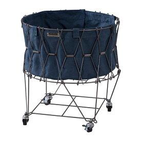 フォールディングバスケット/ランドリーバスケット 【ネイビー】 直径46cm 折りたたみ式 キャスター付 移動可能 車輪付き き