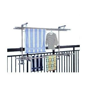 ステンレス製物干し金具セット(洗濯物干し) 太さ5〜10cmまでの手すり(角パイプ・丸パイプ)に取付可