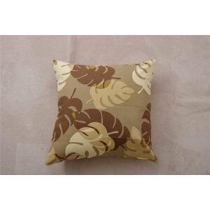 クッションカバー 椅子 (イス チェア) 用 リーフ柄 『モンステラ』 ブラウン 約45×45cm 2枚組 茶