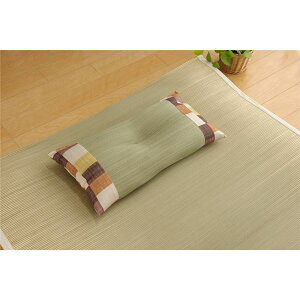 枕 まくら い草 藺草 枕 ピロー 低反発 くぼみ平枕 ブラウン 約50×30cm 箱付 中:低反発ウレタンチップ 茶
