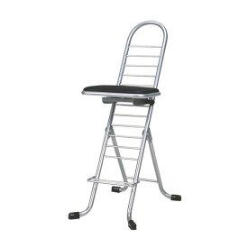 シンプル 折りたたみ椅子 (イス チェア) 【ブラック×シルバー】 幅420mm 日本製 国産 金属 スチール パイプ 『プロワークチェア (イス 椅子) スイング』 黒