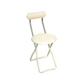 折りたたみ椅子 (イス チェア) 【1脚販売 バニラホワイト×ミルキーホワイト】 幅32cm 日本製 国産 金属 スチール 白