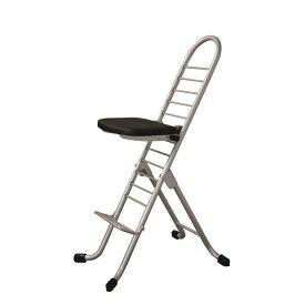 シンプル 折りたたみ椅子 (イス チェア) 【ブラック×シルバー】 SH31〜84cm 金属 スチール パイプ 『プロワークチェア (イス 椅子) 』 黒