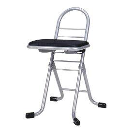 シンプル 折りたたみ椅子 (イス チェア) 【ブラック×シルバー】 幅420mm 日本製 国産 金属 スチール パイプ 『プロワークチェア (イス 椅子) ミニ』 黒