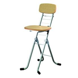 折りたたみ椅子 (イス チェア) 【2脚セット ナチュラル×シルバー】 幅35cm 日本製 国産 高さ6段調節 金属 スチール パイプ 『リリィチェア (イス 椅子) M』