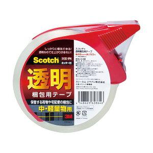(まとめ)3M スコッチ 透明梱包用テープ 中・軽量物用 48mm×50m カッター付 313D 1P 1巻 【×10セット】