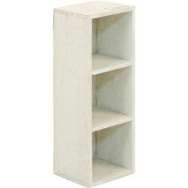 木製 3段ボックス/整理 収納 棚 【幅16×奥行16×高さ46.5cm】 ホワイト アンティーク レトロ ヴィンテージ 調 『moku』 【3個セット】 白