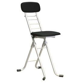 折りたたみ椅子 (イス チェア) 【4脚セット ブラック×シルバー】 幅35cm 日本製 国産 高さ6段調節 金属 スチール パイプ 『カラーリリィチェア (イス 椅子) 』 黒