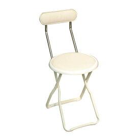 折りたたみ椅子 (イス チェア) 【6脚セット バニラホワイト×ミルキーホワイト】 幅32cm 日本製 国産 金属 スチール 白