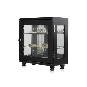 コレクションケース/ディスプレイケース 【横型 ブラック】 約幅32cm ガラス棚耐荷重約1kg/1段 完成品 〔リビング ホビー〕 黒