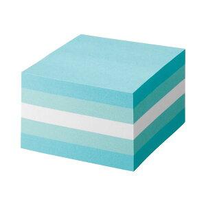 (まとめ) TANOSEE ふせん カラーブロック 75×75mm パステルブルー 1冊 【×10セット】 青