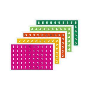 (まとめ)コクヨ ナンバーシール(ミックス)(1〜5)ハードカラー L-FCM-1 1パック(300片:60片×5シート)【×10セット】