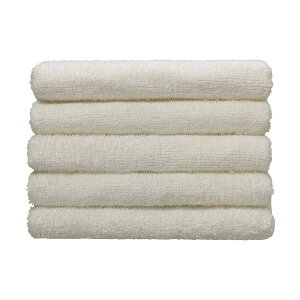 (まとめ)伊澤タオル 再生PET糸使用・環境に優しいタオル フェイスタオル ホワイト 1パック(5枚) 【×10セット】 白