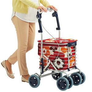 アルミワイヤー キャリーカート/ショッピングカート 【花柄レッド】 幅50cm 日本製 国産 軽量 『スワレル』 〔お買い物〕 赤