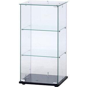 ガラスコレクションケース ショーケース 3段 (クリア)ブラック【幅42.5×奥行36.5×高さ85cm】 黒