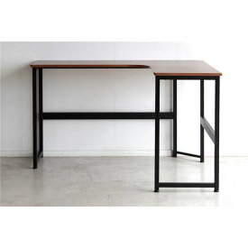 L型デスク (テーブル 机) /パソコン PC デスク 【ブラウン】 幅120cm 金属 スチール 製 『アベニュー』 【組立品】 〔リビング〕 茶