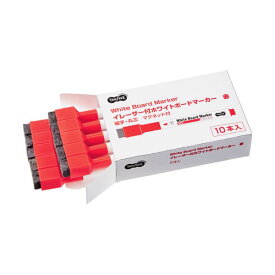 (まとめ) TANOSEEイレーザー付ホワイトボードマーカー 細字・丸芯 赤 1セット(10本) 【×5セット】