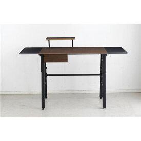 パソコン PC デスク (テーブル 机) /学習机 テーブル 【ブラウン】 幅134cm 可動棚 引き出し付き 金属 スチール 製 『デイ』 【組立品】 〔リビング〕 茶