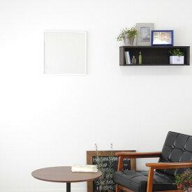スリムミラー/姿見鏡 【正方形 ホワイト】 壁掛け 幅42×42cm 天然木 木製 フレーム シンプル 日本製 国産 〔玄関 廊下 居間 寝室〕 白