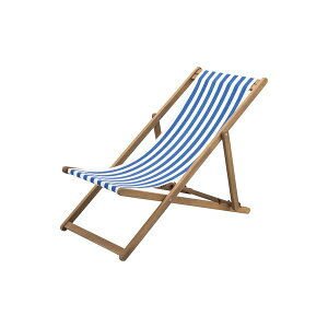 シンプル デッキチェア (イス 椅子) 4脚セット 【幅60.5cm】 木製 オイル仕上げ ポリエステル 〔アウトドア イベント 行楽 レジャー〕