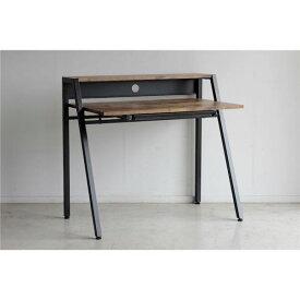 北欧風 パソコン PC デスク (テーブル 机) /学習机 テーブル 【ブラウン】 幅96cm 金属 スチール 製脚付き 『リグナ』 【組立品】 〔リビング〕 茶