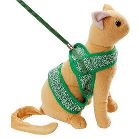 (まとめ)猫小町ソフトハーネスリード 唐草 M グリーン(ペット用品)【×3セット】 緑
