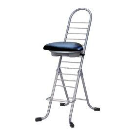 シンプル 折りたたみ椅子 (イス チェア) 【ブラック×シルバー】 幅420mm 日本製 国産 金属 スチール パイプ 『プロワークチェア (イス 椅子) ラウンド』 黒
